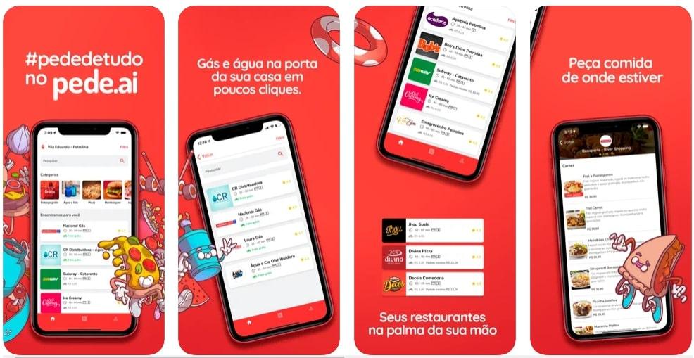 Capturas de tela do aplicativo Pede.ai