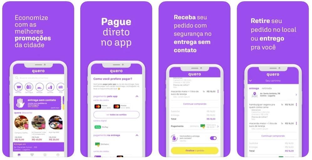 Capturas de tela do aplicativo Quero Delivery