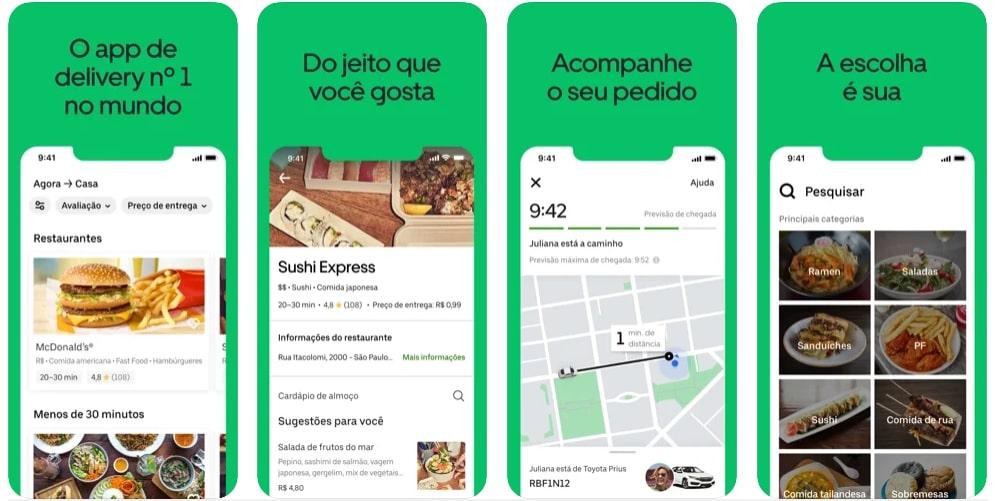 Capturas de tela do aplicativo Uber Eats
