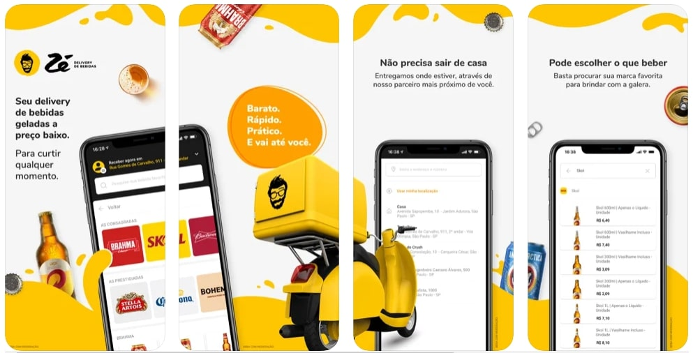 Capturas de tela do aplicativo Zé Delivery