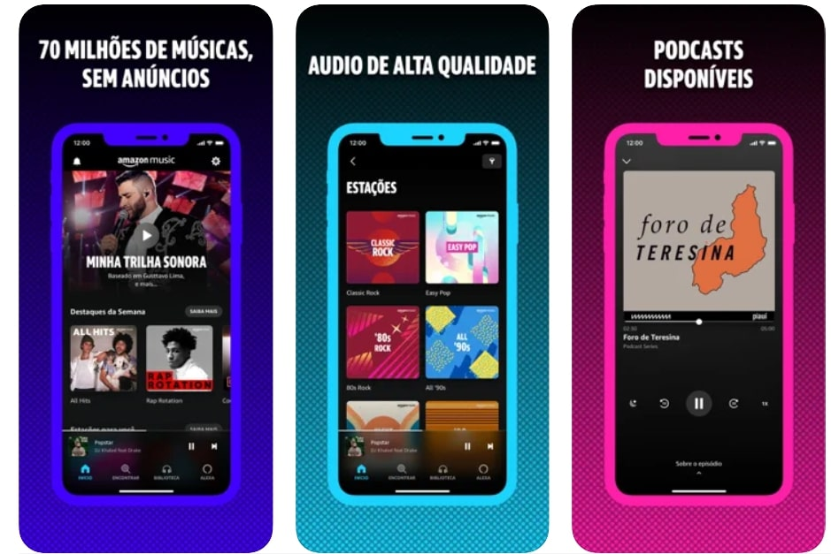Captura de tela do aplicativo de música Amazon Music