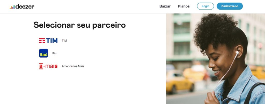 Captura de tela do site do Deezer