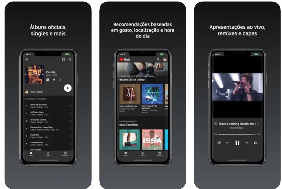 Captura de tela do aplicativo de música Youtube Music