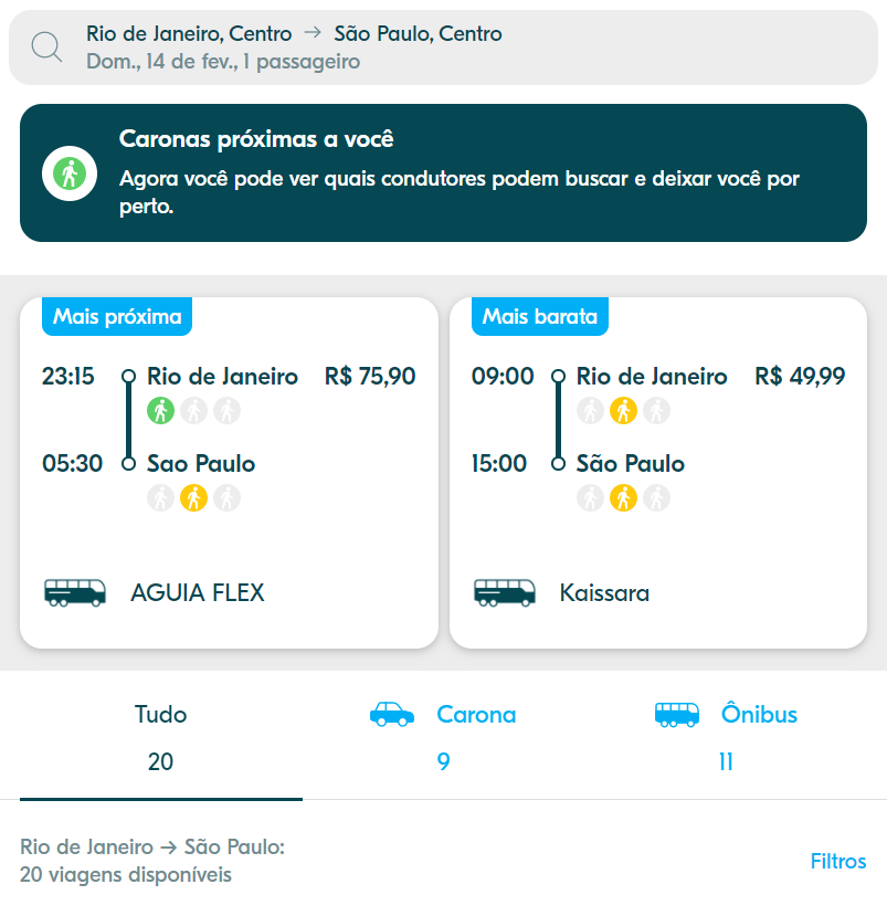Capturas de tela do aplicativo Blablacar
