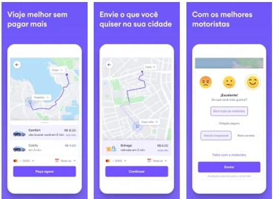 Capturas de tela do aplicativo Cabify