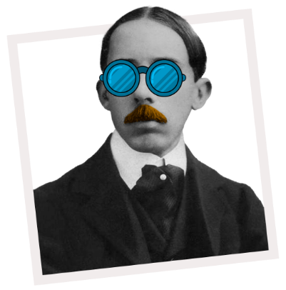 Santos Dumont com óculos azul e bigode amarelo